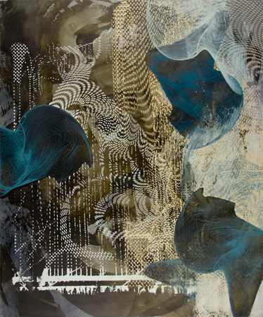 "Untitled 1408 , Dorothea Van Camp, screen print, oil and wax on panel, 24"" x 20"", $1,400"