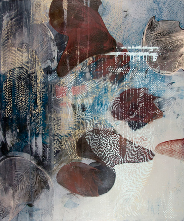 "Untitled 1407 , Dorothea Van Camp, screen print, oil and wax on panel, 24"" x 20"", $1,400"