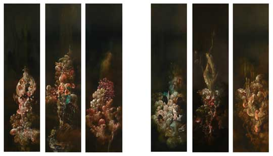 "Hydnellum Myriorama , acrylic on six panels, 48"" x 12"", 6 panels for $10,000 or $2,000 each"