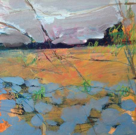 "Audubon Pond , Heather Pilchard, acrylic on board, 8¾"" x 8¾"" framed, $325"