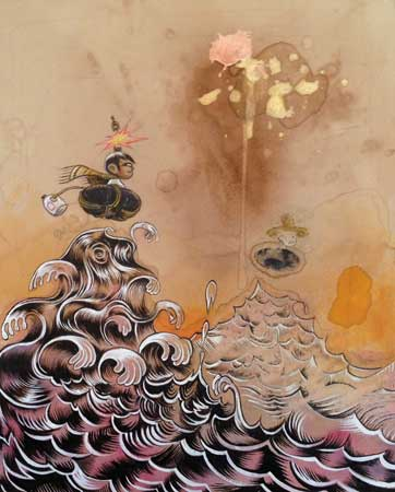 "Olas , Raúl Gonzalez III, acrylic, colored pencil, coffee-stained paper, 15½"" x 13¼"" framed, $1400"