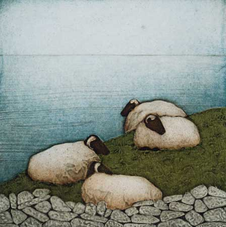 "Sheltering , Kathleen Buchanan, collagraph on paper, 16"" x 15"" framed, $300"
