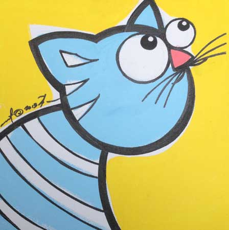 "Blue Cat , Bren Bataclan, acrylic on canvas, 12"" x 12"", sold"