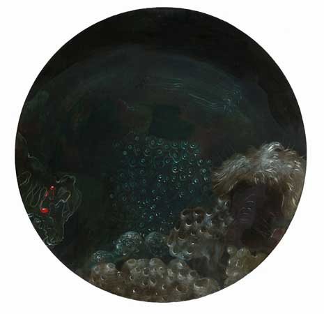"Petri Study No. 4 , Nicole Duennebier, acrylic on panel, 8½"" diameter, $500"