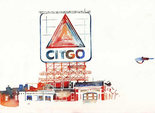 "Citgo , Elisa Solignac, archival inkjet print of original watercolor, 10"" x 10"" framed, sold, unframed available"