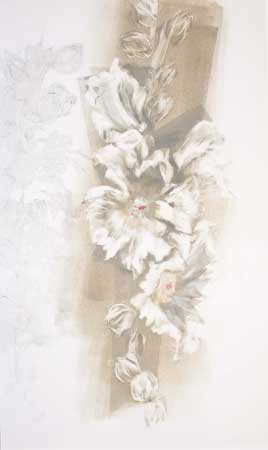 "July Hollyhocks , Barbara Nachmias-Kedesdy, monoprint with transfer drawing, 20"" x 15"" framed, $425"