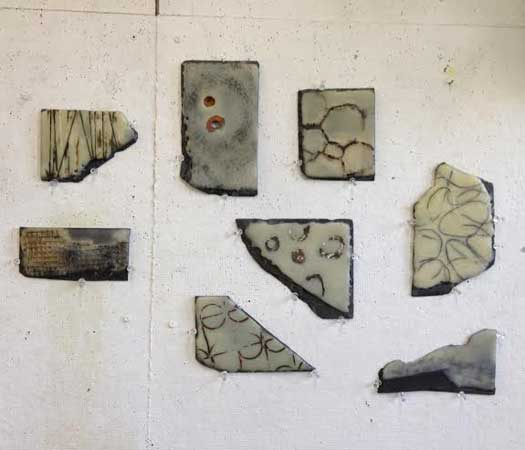 Fossils #1-8 , Jodi Colella, encaustic on slate, $250 each, 2 for $450, 4 for $850, 8 for $1600