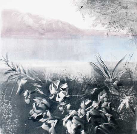 "Across the Tajo River, Toledo,  Barbara Nachmias-Kedesdy, monotype, 17¼"" x 16¾"" framed, $425"