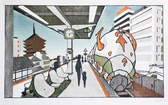"The 6:15 , John Hunter, woodblock print on washi paper, 21"" x 31"" framed, $550"