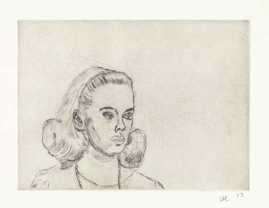 "Sandy Dennis 1: Trepidation , David Curcio, drypoint etching, 16"" x 17½"" framed, $500"