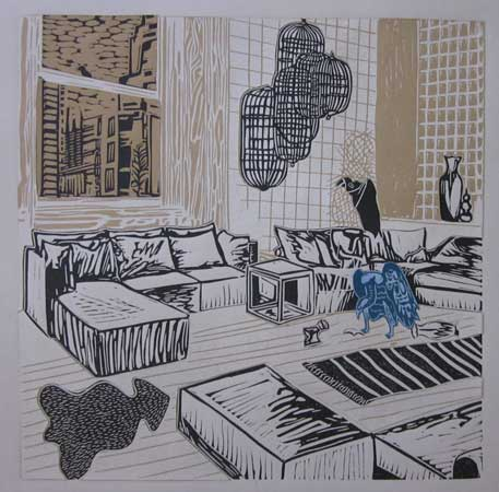 "Bourgeoisie Gone Awry 4 , Ellen Shattuck Pierce, collaged linoleum print, 19¾"" x 19¾"" framed, $450"