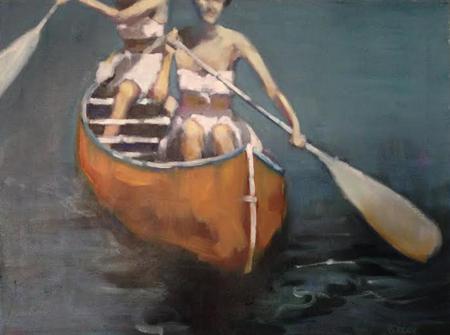 "Yellow Canoe , Beth Dacey, oil on canvas, 18"" x 18"", $1200"