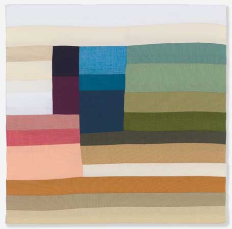 "Dusk , Rebecca Roberts, sewn cotton fabric, 12"" x 12"", $350"