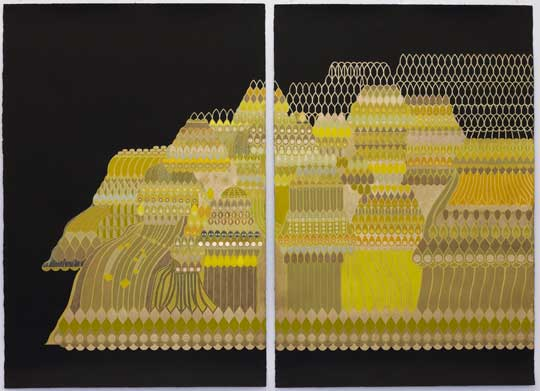 "Quasicrystal #1 , Mary O'Malley, 60;"" x 44"", diptych, $5000"