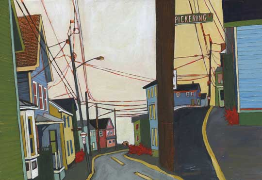 "Pickering Street , Stacey Durand, acrylic and graphite over collage on panel, 9"" x 13"", sold"