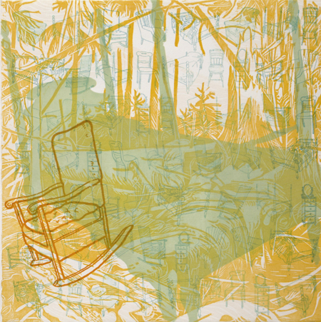 "Reverie #11 , Prilla Smith Brackett, woodcut, pronto plate, stencil on BFK 250, 15"" x 15"" framed, $700"