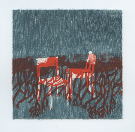 "Edges and Squares #1 , Nina Wishnok, woodblock and paper lithography monoprint, 15¼"" x 15¼"" framed, $400"