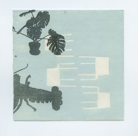 "Edges and Squares #11 , Nina Wishnok, woodblock and paper lithography monoprint, 15¼"" x 15¼"" framed, $400"