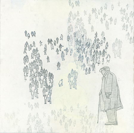 "Trace People #3 , Nina Wishnok, woodblock and paper lithography monoprint, mounted on panel, 11"" x 11"", $400"