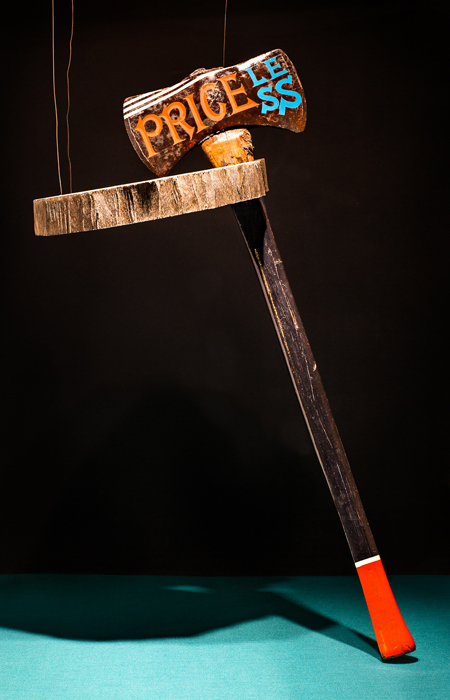 "Priceless , Kenji Nakayama, enamel on vintage ax, 28"" x 9"", $450"
