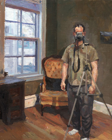 "Self-Portrait in Winter Light,   oil on canvas, 10"" x 8"" ,  $650"