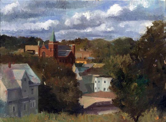 "Holy Somerville! , oil on canvas, 9"" x 12"", $325"