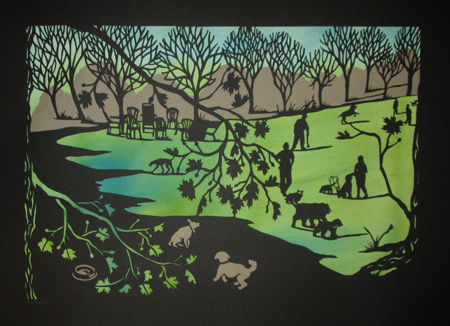 """Cold Spring Dogs,  handcut paper over gouache, 19½"""" x 25½"""" framed ,  $550"""