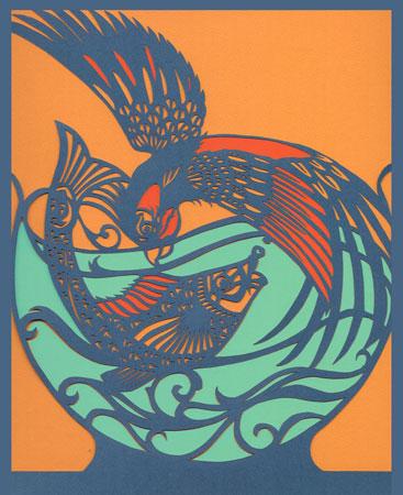 "Parrotfish,  handcut paper, 21½"" x 18¾""  sold"