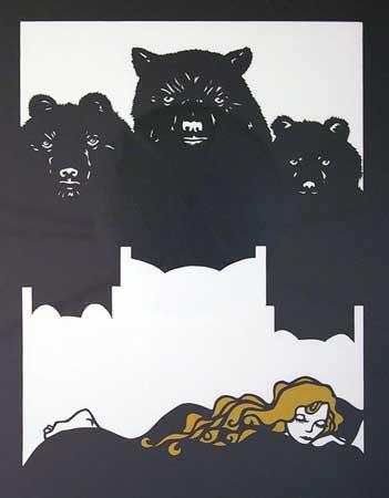 "Goldilocks and the Three Bears,  handcut paper, 20¼"" x 14"""