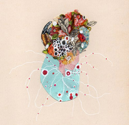 "Sea Tangle,   ink and found collage on antique paper, 6"" x 6"",   $150"