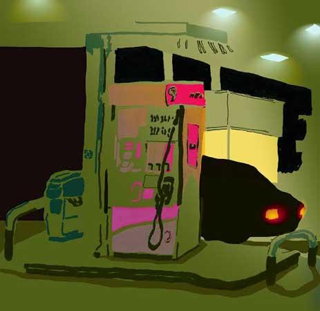 """Gas Station,  digital illustration of original ink on paper, 11¼"""" x 11¼"""" framed   $125"""
