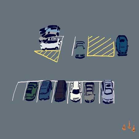 """Parking,  digital illustration of original ink on paper, 11¼"""" x 11¼"""" framed   $125"""
