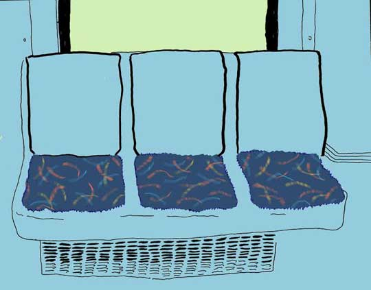 "Seats,   digital illustration of original ink on paper, 12¼"" x 15¼"" framed   $150"