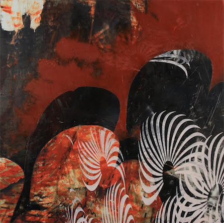 "Untitled 1221 , Dorothea Van Camp, screen printed oil and wax on panel, 10"" x 10"" x 1½"", sold"
