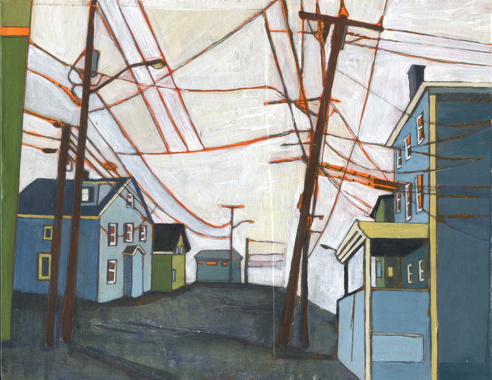 "To Goat Hill Via School Street,  Stacey Durand, acrylic and graphite over collage on panel, 7"" x 9"", sold"