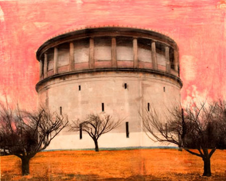 "Watertower, Arlington,   phototransfer on wood, 16"" x 20""   available as print only"