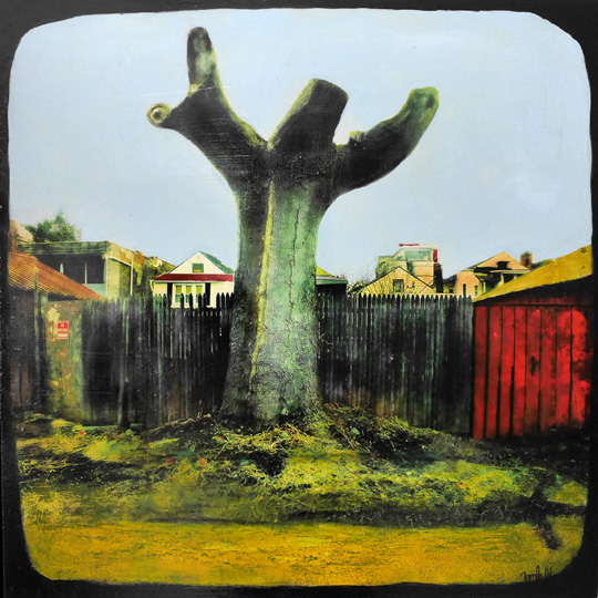 "Jesus Tree,   phototransfer on wood, acrylic, pastel, 24"" x 24"", $750   also available as digital print on aluminum mounted on wood, 12"" x 12"", $325"