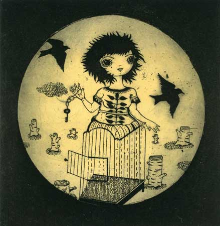 "Escape,   etching, drypoint, aquatint and monotype, 10½"" x 11"" unframed, sold"