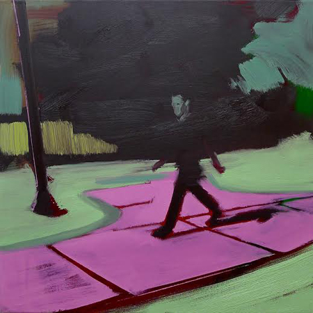 """Pink Sidewalk,  oil on linen, 24"""" x 24"""",   $1,600"""