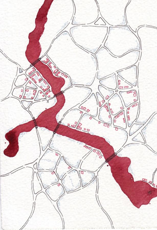 "Crimson Lake,   pen, ink on paper, 6"" x 4½"" ,  $45"