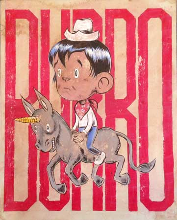 "Burro,   acrylic, colored pencil, coffee-stained paper, 11¾"" x 9½"" ,  $1,200"