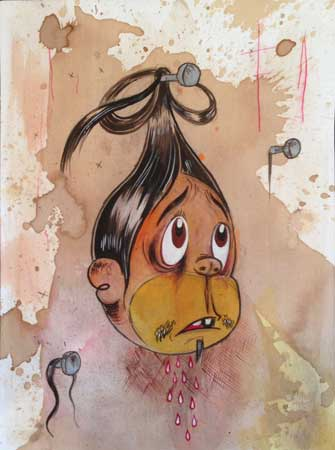 "Clavo,   acrylic, colored pencil, coffee-stained paper, 12¼"" x 9"" ,  $1,200"