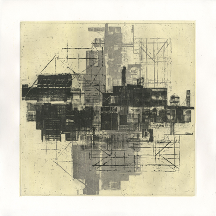 "Cityscape Y + B,  etching, 15"" x 15""  $185"