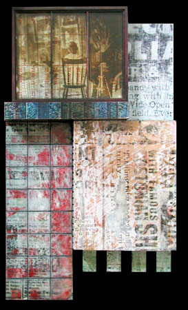 "2nd Hand,   wood, masonite, acrylic paint, acrylic medium, collage, screenprinting, glass negative, 13½"" x 8"" x 3""   $700"