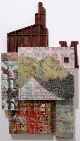 "Menthol,   wood, masonite, collage, screenprinting, acrylic paint, acrylic medium, sewing patterns, bamboo skewers, elbow macaroni, wood glue, iron pain, rusting solution, masking tape, 18"" x 10"" x 2"""