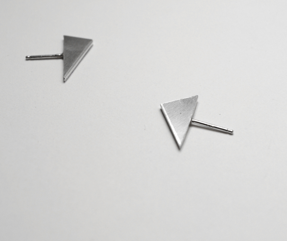 Triangle posts,  sterling silver