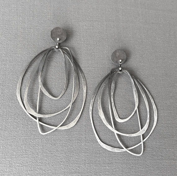 Oxidized Ombre Layered Hoops earrings on posts,  sterling silver, $185