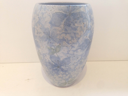 "Stoneware vase in Aegean blue, ceramic, 7¾"" x 5"", $175"