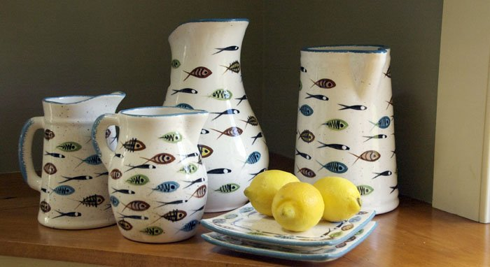 Multifish pitchers,  ceramic