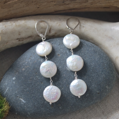 Rain Drops,  freshwater coin pearls, sterling silver, $60